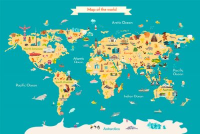 Plakat World map vector illustration with landmarks. Travel map with landmarks, animals and sight of country.