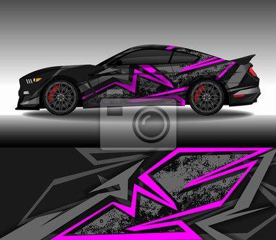 Plakat Wrap car decal design vector, custom livery race rally car vehicle sticker and tinting.