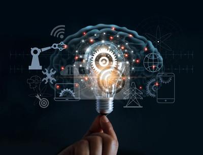Plakat Wręcza mieniu żarówkę, cog wewnątrz i innowaci ikony sieci związek na móżdżkowym tle, nowatorska technologia w nauce i przemysłowym pojęciu ,.