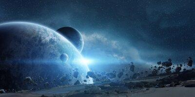 Plakat Wschód słońca nad Ziemi w przestrzeni