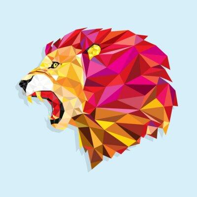 Plakat Wściekły lew strukturze? Vector ilustracji geometrycznej