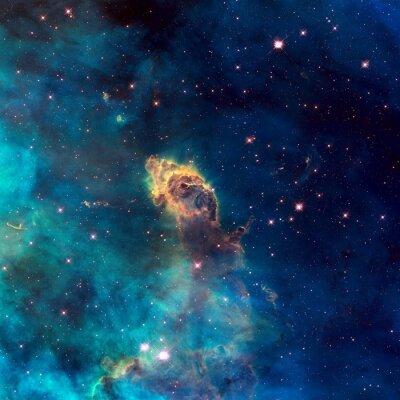 Plakat Wszechświat wypełniony jet gwiezdnej mgławicy, gwiazd i galaktyki.