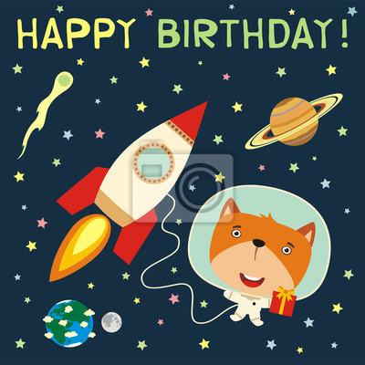 Plakat Wszystkiego Najlepszego Zabawna Lisa Z Prezentem W Kosmosu Obok