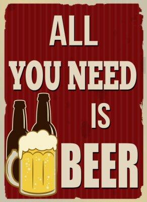 Plakat Wszystko czego potrzebujesz to piwo plakat retro