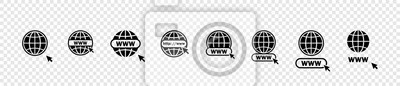 Plakat Www icons collection. Web site icons. Www icons with hand cursor in flat design. Www vector icons. Eps10