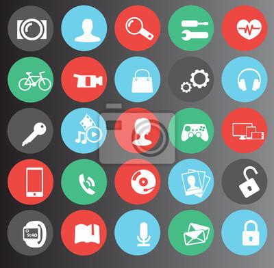 WWW, media zestaw ikon 25 płaski