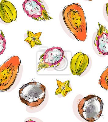 Plakat Wyciągnąć rękę wektor streszczenie odręczne teksturowanej niezwykły wzór bez szwu z egzotycznych owoców tropikalnych papai, smoka owoców, kokos i carambola wyizolowanych na białym tle