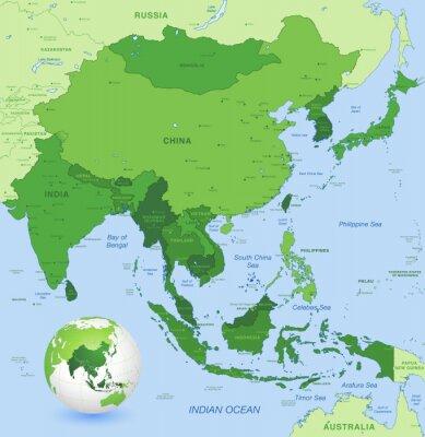 Plakat Wysoki szczegółów mapy wektorowe Dalekiego Azji Wschodniej