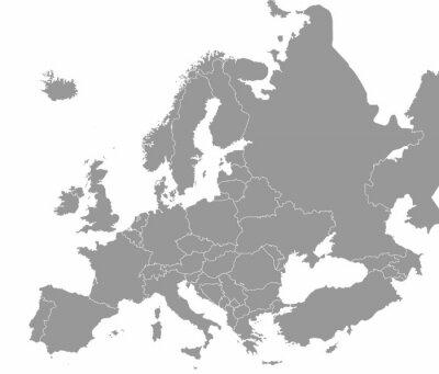 Plakat Wysokiej jakości mapa Europy z granicami regionów