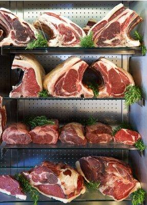 Plakat Wyświetlacz suchej Aged mięsa w Butchers Shop