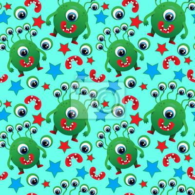 Wzór cute potworów, potwory, oczy, usta, gwiazdy