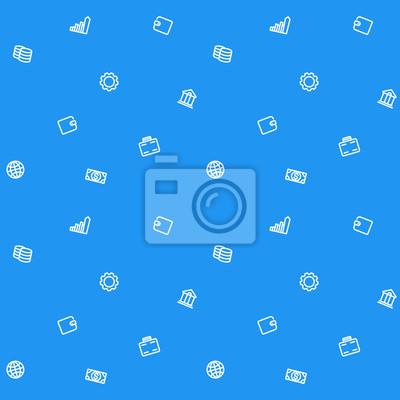 wzór, finanse, biznes, pieniądze, niebieskie tło z białymi ikonami