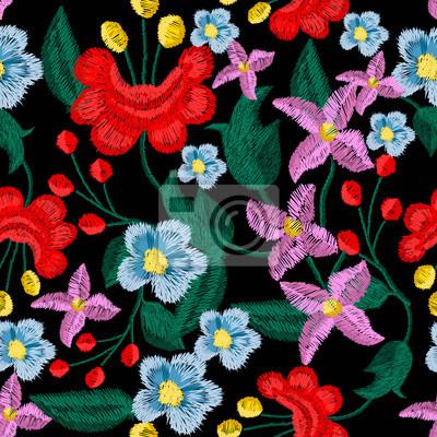 Wzór haftu piękne kwiaty wektora do projektowania tekstyliów