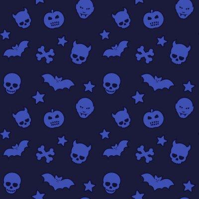 wzór halloween, bezszwowe tło wektor z czaszki, nietoperze, dynie, wampiry i gwiazdy