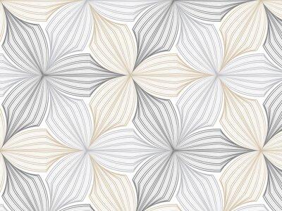 Plakat wzór kwiatowy wektor, powtarzając liniowy płatek kwiatu, monochromatyczny stylowy