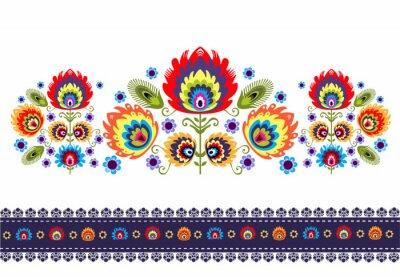 Plakat Wzór ludowy z kwiatami