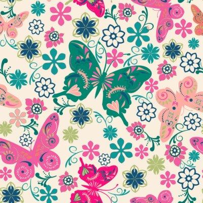 Plakat wzór motyli i flowers- ilustracji