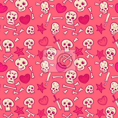 wzór z czaszek i serc, kości i sztyletów, bezszwowe tło wektor, stylu cartoon