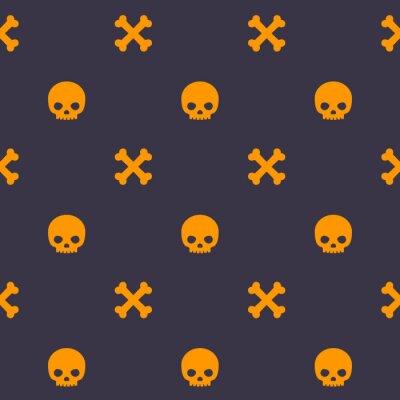 wzór z czaszki i kości, ciemne bezszwowe tło wektor halloween
