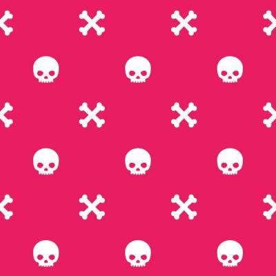 wzór z czaszki i kości, różowy bezszwowe tło wektor halloween