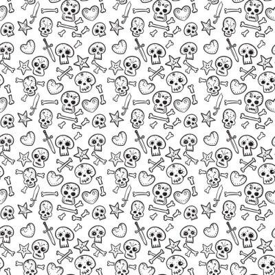 wzór z czaszki i serca, kości i sztylety, bezszwowe tło w czerni i bieli