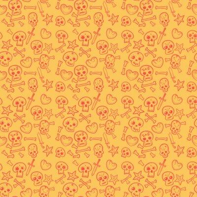 wzór z czaszki i serca, kości, sztylety, bezszwowe tło w kolorze czerwonym i żółtym