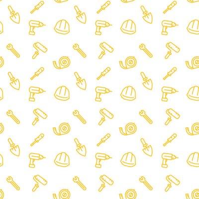 wzór z ikon narzędzi budowlanych, żółty na białym