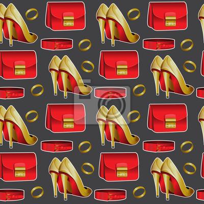 Wzór żeński materiał, buty, pierścień, serce, warg, szminka, torebek, pasków