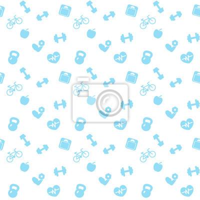 wzorek bez szwu niebieskie ikony fitness