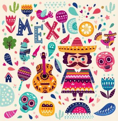 Plakat Wzorzec z symboli Meksyku