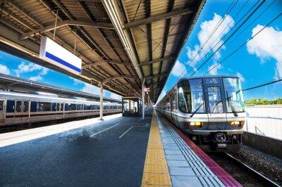 Plakat 鉄 道 の 駅 の プ ラ ッ ト ホ ー ム