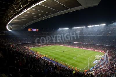 Plakat BARCELONA, Hiszpania - 13 grudnia 2010: Panoramiczny widok na Camp Nou, stadionu drużyny Football Club Barcelona, przed meczem FC Barcelona - Real Sociedad, końcowy wynik 5 - 0.