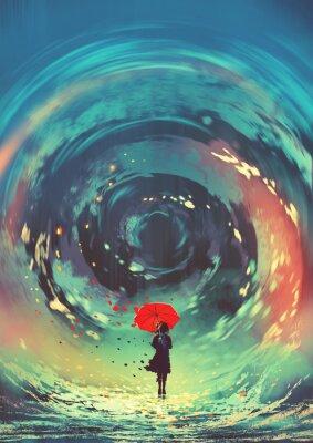 Plakat dziewczyna z czerwonym parasolem sprawia, że wirująca woda na niebie, cyfrowy styl sztuki, malowanie ilustracji