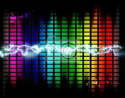fondo con GrĂĄficos y ondas de musica