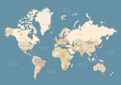 Plakat Highly detailed world map with labeling. Сountries in different color