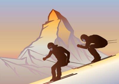 Plakat Kayakçılar ve Matterhorn