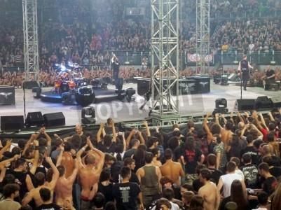 Plakat Koncert zespołu â € œMetallicaâ €, Rome 24 czerwca 2009 roku Ludzie pod sceną.