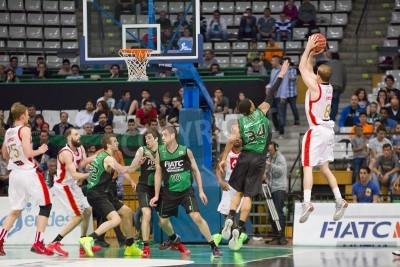 Plakat Michael Roll Saragossie w akcji na meczu hiszpańskiej ligi pomiędzy Joventut Koszykówka CAI Zaragoza, a wynik końcowy 82-57, w dniu 13 kwietnia 2014 roku w Badalona, Hiszpania