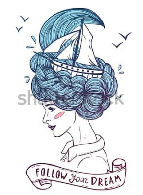 """Plakat Ręcznie rysowane kolorowy portret marzącej młodej pięknej kobiety ze statkiem w falach kręconych morskich włosów. Tatuaż, zentangle, moda, marine, pocztówka, vintage wstążka z tekstem """"podążaj za marz"""