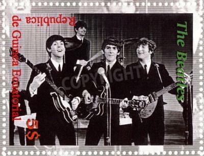 Plakat REPUBLIKA Gwinea ECUTORIAL � OKOŁO 2003: The Beatles - 1980 słynny musical grupa pop.