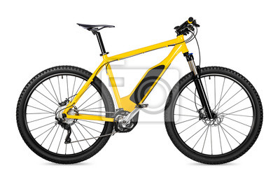 Plakat yellow ebike pedelec with battery powered motor bicycle moutainbike. mountain bike ecology modern transport concept isolated on white background
