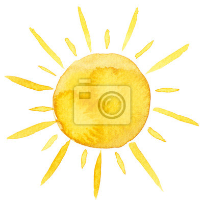 Plakat Yellow ink shiny sun watercolor illustration isolated on white background