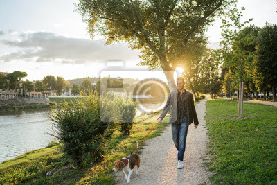 Plakat Young man takes his beloved dog for a walk in the park at sunset - Millennial in a moment of relaxation with his four-legged friend