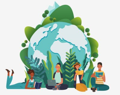 Plakat Young people group reading books. Study, learning knowledge and education vector concept. Eco friendly ecology poster. Nature conservation illustration