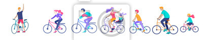 Plakat Young woman and man ride the bike, family and friends riding bicycles. Mom, dad and children on bike and cycling together. Sports outdoor activity. Cartoon vector illustration