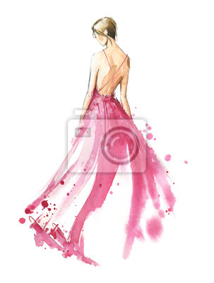 Plakat Young woman wearing long evening dress, bride. Watercolor illustration