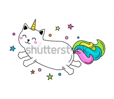 Plakat Zabawna postać kota jednorożca skacze po niebie. Ilustracja wektorowa płaski