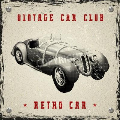 Plakat zabytkowe projektowania plakatu samochód z nadrukiem pikseli półtonów dot tekstury