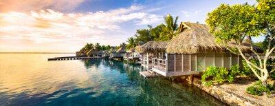 Plakat Zachód słońca na bezludnej wyspie na Pacyfiku