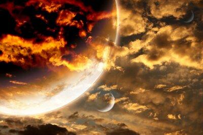 Plakat Zachód słońca w burzy niebo i obcej planecie
